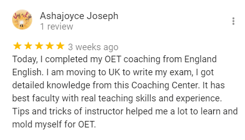 England English Student Ashajoyce Review for the OET COaching Center - England English.
