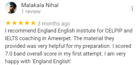 Nihal Review for the best IELTS Training Institute - England English