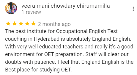 Veeramani Review for the Best OET Training center in Hyderabad - England English.